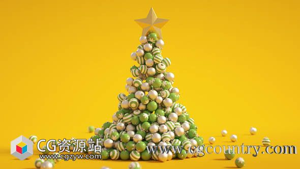 小球汇聚圣诞树动画C4D教程Cinema 4D – How to Build an Animated Christmas Tree Tutorial