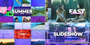 欢乐的夏天幻灯片排版组合展示动画AE模板