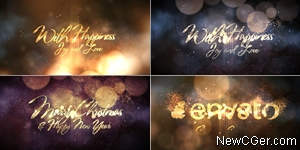 绚烂粒子花火装饰的文字祝福语开场AE模板