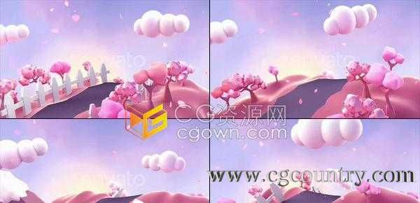 卡通循环3D樱花山与空中花瓣飘荡效果动画节日介绍浪漫表演开场背景视频